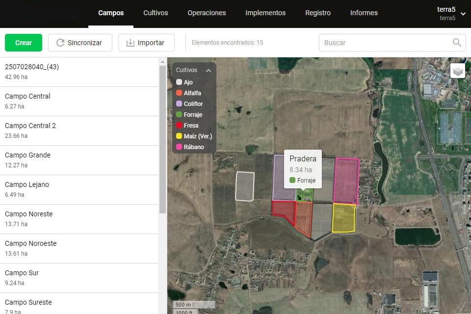 gestión de cultivos, localización en areas cultivadas captura de imagen 1